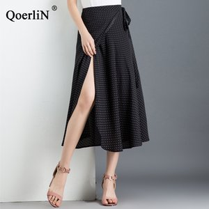 Wholesale QuerliN Small Polka Dot Wrapped Skirts Women Summer Beach High Waist One Piece Skirts Sexy Split with Liner Bowtie Saias
