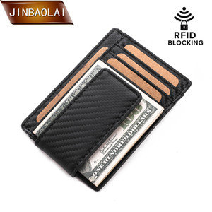 Wholesale JINBAOLAI Mens Wallet Slim Genuine Leather Magnetic Money Clip Front Pocket Wallet RFID Blocking Strong Magnet thin Wallets