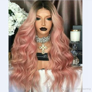 Wholesale fashion curly ombre pink synthetic glueless front lace wig short dark roots combs straps for lady woman