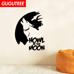Decorate Home howl at the moon wolf cartoon art wall sticker decoration Decals mural painting Removable Decor Wallpaper G-2027 on Sale