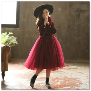 Wholesale autumn girl dress velvet for sale - Group buy Big girls Princess dress Autumn kids beaded velvet long sleeve tulle dress faux fur collar sets christmas party dress C6002