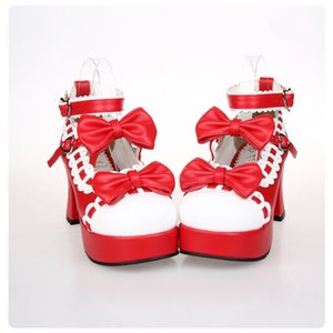 2019 New Japanese Style Sweet Lolita Shoes Maid Cosplay Shoes Girls Princess Shoes High Heels Women's Shoe w Bowknot Size 35-43
