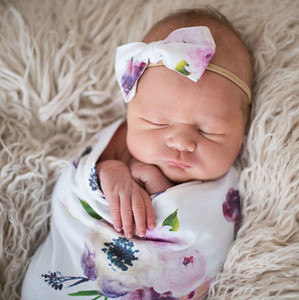 Wholesale 6 colors baby blanket Newborn floral printed sleeping bag sets with bow headbands swaddle wrap blanket Swaddling Photographic props