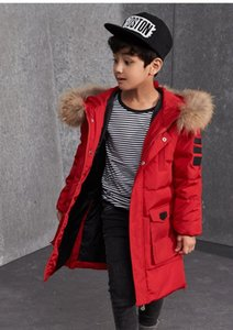 Wholesale Boys Winter Jackets Fur Hooded Teenage Boys Winter Coats Children Duck Down Jackets Kids Outerwear for Age Year