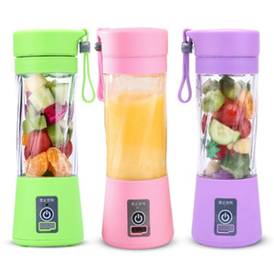 frutas de copo venda por atacado-380ml Blades Mini elétrico portátil Fruit Juicer USB recarregável Smoothie Criador Blender Máquina Sports Bottle Juicing Cup