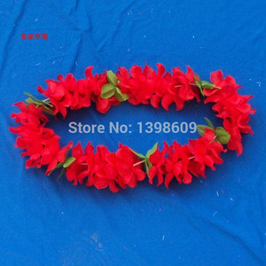 Wholesale 20pcs Hawaiian Leis Jumbo Silk Flower Luau Party Favor Artificial Garland Wreath Cheerleading Necklace Decoration