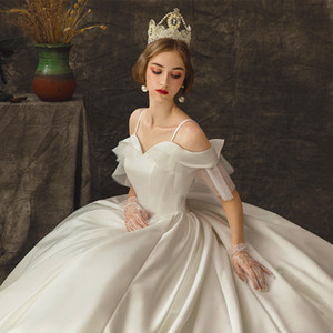 The new word shoulder satin dress trailing princess dream main wedding dress