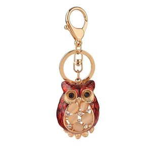 New fashion rhinestone owl keychain alloy cartoon owl crystal car key ring female bag pendant accessories charm jewelry