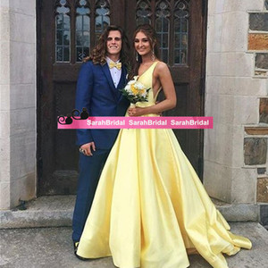 Wholesale British Royal red events Amal Alamuddin capped V Neck elegant yellow stain same party gowns custom made Special Occasion celebrity Dresses