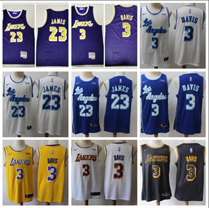 Wholesale 2019 Los Angeles Lakers New Style James Jersey Davis Embroidery Basketball Vests White And Blue Edition NBA Jerseys