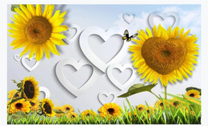 Wholesale Customized d silk photo murals wallpaper HD sunflower heart shaped living room TV background wall decoration wallpaper for walls d