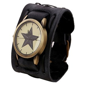 Wholesale New Style Retro Punk Rock Brown Big Wide Leather Bracelet Cuff Men Watch Cool casual leather male wrist watches vintage relogio