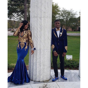 Wholesale African Long Sleeve Mermaid Prom Dresses 2019 New Gold Sequined Floor Length Velvet Illusion Formal Evening Dress Party Gowns