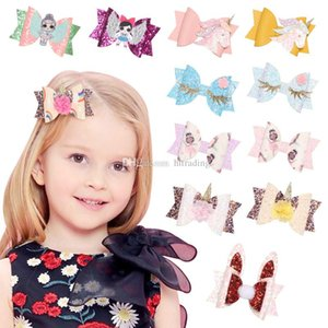 Wholesale Unicorn Flower Barrettes Bow Hair Clip cartoon Hair Bow With BB Clip kids Hair Accessories Boutique baby Sequin Glitter headwear C6553