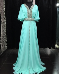 Wholesale blue moroccan caftan evening dresses bling glitter sequined short sleeves formal prom dress v neck abaya muslin long robes de soirée 2019