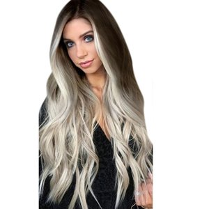 Wholesale Factory price pc Women Ladies Lady Grey False Wig Long Wavy Full Lace Party Hair Wigs Straight Full Wig Stand New Dce6