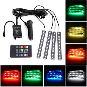 Wholesale 4pcs Car RGB LED Strip Light LED Strip Lights Voice App Control Colors Decorative RGB Atmosphere Lamps Car Interior Lights