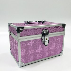 Wholesale Professional Aluminium alloy Make up Box Pink butterfly Makeup Case Beauty Case Cosmetic Bag Multi Tiers Lockable Jewelry Box