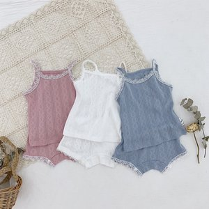 INS Little Girls Lace Tees + Short 2pieces Suits Summer Breathable Thin Sleeveless Vest Tops Flower Collar Children Girls Outfits on Sale