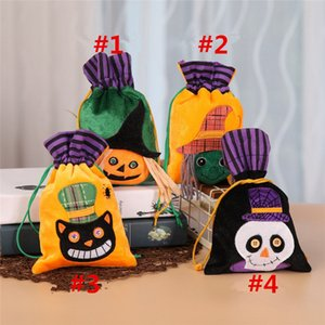 Wholesale Halloween Non woven Drawstring Gift Bag Portable Handbag Ghost Pumpkin Skull Witch Black Cat Print Festival Party Decors Candy Bag B82101