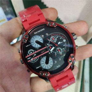 Sports mens watches Double pointer Big Dial Display 50mm Top Brand luxury watch Quartz watch Steel Band 7370 fashion wristwatches For men wa
