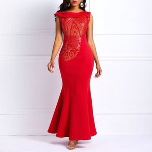 Wholesale 2 Colors Graceful Even Dresses One Shoulder Slim Fishtail Maxi Dress Women Long Elegant Sleeveless Mermaid Sequins Evening Dress