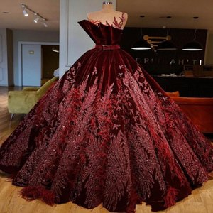 Wholesale Luxury Feather Sequined Evening Dresses With O-Neck Sash Appliques Beads Ball Gown Prom Dress Customized robe de soiree