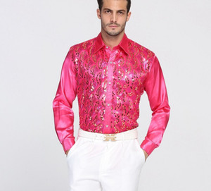 Wholesale red sequin shirts for sale - Group buy High Quality Sequin Performance ball host Cotton Groom Long Sleeve Shirts Best Man Shirt Long Sleeve Shirt Groom Accessories