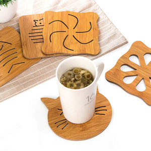 Wholesale Bamboo Coffee Mug Mat Durable Wood Heat Insulation Cup Mat Drink Coaster Dining Table Desk Coaster Tea Pot Cup Pad Tableware Placemats