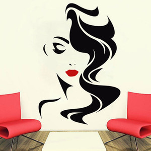 Wholesale Wall Decal Beauty Salon For Lady s Red Lips Vinyl Sticker Home Decor Hairdresser Hairstyle Hair Hairdo Barbers Window Decal