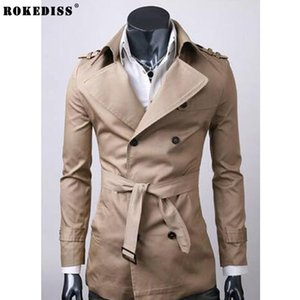 Wholesale ROKEDISS Trench Coat Men Autumn Spring Double Breasted Men Outerwear Casual Coat Men s Jackets Windbreaker Mens Trench Z122