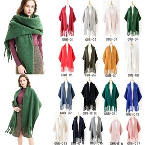 Wholesale Solid Color Mohair Scarves Women Winter Shawls Long Big Size Warm Thick Fashion Lady Wool Cashmere Scarves Tassels Wrap CCA11890