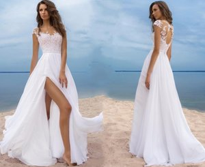 Wholesale Sheer Jewel Neck Appliqued Keyhole Backless Long Bridal Gowns For Summer Beach Weddings Sexy Split Boho White Wedding Dresses