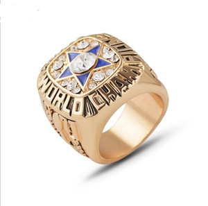 Wholesale Fashion Design Men Super Bowl American Football Dallas Cowboys Alloy Ring Pentacle Crystal Punk Jewelry