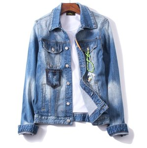 Mens Jackets Ripped Denim Jackets Zippers Streetwear Distressed Motorcycle Biker Jeans Jacket Spring and autumn coat