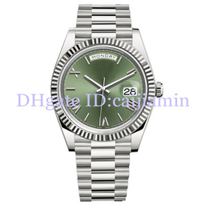 Wholesale mens yellow faced watches resale online - 2019 Top Mens Watches MM Green Rome Number Face Big Date Automatic Mechanics Watch Men Sapphire Glass Stainless Steel Wristwatches