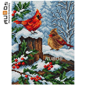 Wholesale DIY D Diamond Painting Cardinals Snow Winter Full Drill Beads Pattern Diamond Embroidery New Arrival All For Home Hobbies