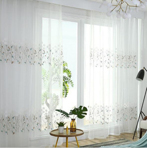 Wholesale white curtains for sale - Group buy Sheer Curtains Blue grey white grid screen new curtain customization White Embroidered window screen