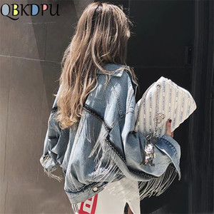 Women bat sleeve tassel short loose burr denim jacket Female Fashion new boyfrieds outwear 2019 Autumn Streetwear jean coat CJ191205