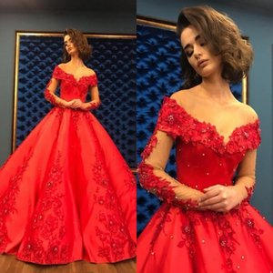 Wholesale Red Ball Gown Evening Dress 2020 Long Elegant Women Event Party Dress Heavy Beaded Crystal Deep Long Sleeve Formal Women Gowns