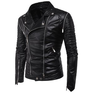 Classic Design 2019 Autumn and Winter New Men's Motorcycle Leather Zipper Stand Collar Slim Leather Jacket European Size on Sale