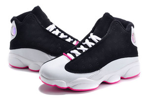 Wholesale Designer basketball shoes for boys girls black red white black pink cheap XIII sale high top quality US C Y