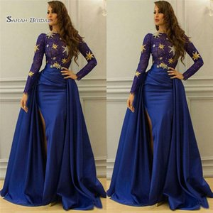 Wholesale Royal Blue Overskirt Lace Dresses Evening Wear With Long Sleeve Bateau Split Side Evening Gowns Vestidos De Novia