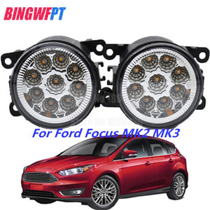 Wholesale 2PCS LED Front Fog Lights white yellow Car Styling Round Bumper For Ford Focus MK2 3 Fusion Fiesta Tourneo Transit 2001-2015