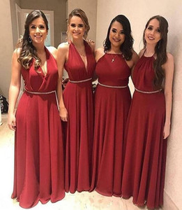2019 South African Red chiffon A-Line Bridesmaid Dresses Party Prom Gowns V Neck floor length crystal sash Maid of Honor gowns custom made on Sale