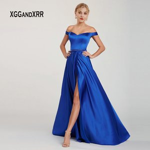 Wholesale Elegant Satin Long Prom Dress Evening Party Gown Cut Out Back Bodice Off Shoulder Sexy Side Slit Blue Graduation