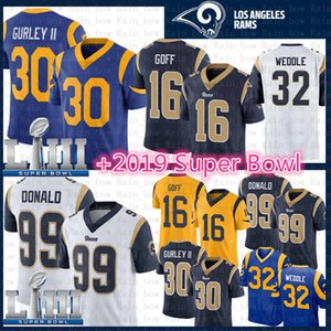 Wholesale Los Angeles Todd Gurley Ram Jersey Aaron Donald Jared Goff Eric Weddle color rush Super Bowl LIII Football Jerseys blue