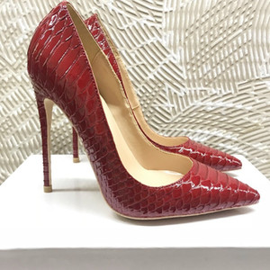 Wholesale red face shoes for sale - Group buy 2020 spring new cm bright face wine red snake pattern high heel female heel pointed style single shoe cm