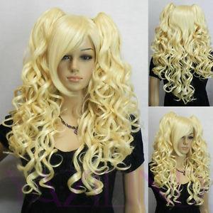 Wholesale Wavy Curly no Lace Front Black Bride Plait Lolita Pale Blonde Yellow Long Wavy Fibre Hair Cosplay Role Play Party Wig Heat resistant ladies