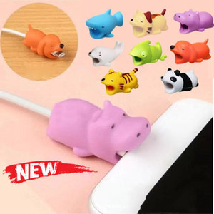 10PCS set Cartoons Animal Bite Cable Data Protector Dogs Cats Cute Shaper Winder Organizer for Iphone Ipad Data Line Protection Phone on Sale